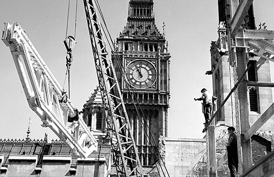 Reconstruction of the Houses of Parliament, Palace of Westminster, London, following war damage (detail)