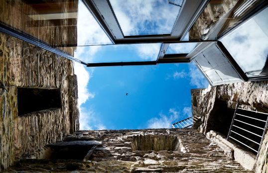 Pele Tower House central open space looking upward