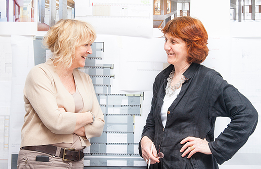 Yvonne and Shelley of Grafton Architects smiling
