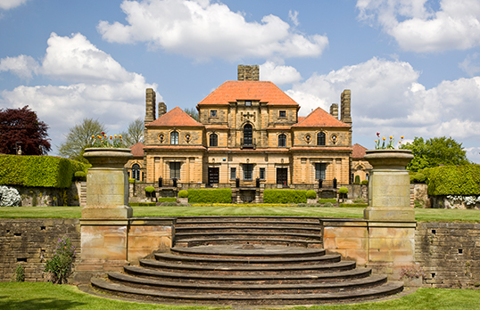Heathcote, Ilkley, West Yorkshire: the south lawn and steps