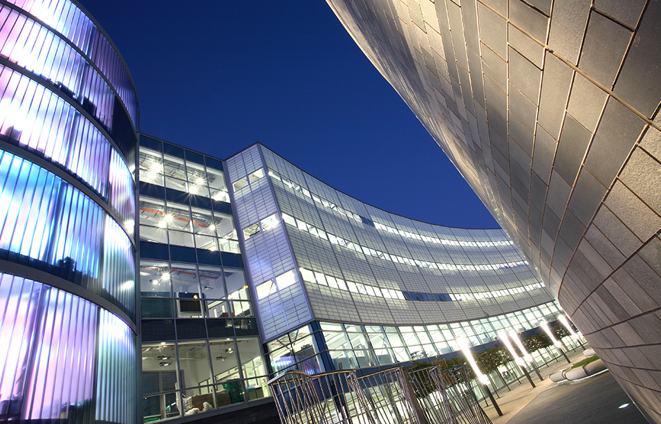 City Campus East, Northumbria University, Newcastle-upon-Tyne, at dusk - copyright Steve Mayes / RIBA Collections.