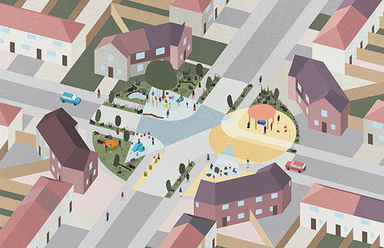 Aerial visualisation of Becontree estate by nimtim architects