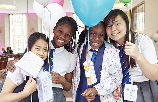A group of schoolchildren attend 'Inspire! A celebration of the RIBA National Schools Programme' at the RIBA, 66 Portland Place, London