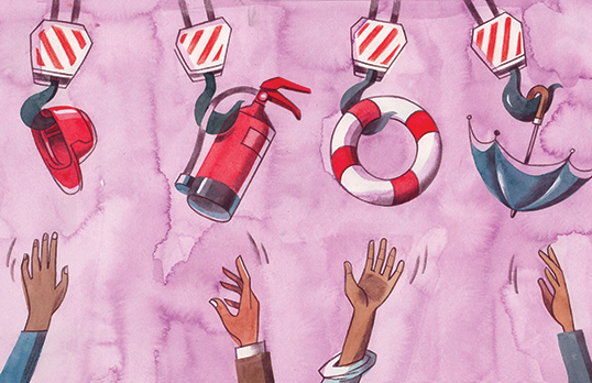 Illustration of four hands reaching up to a hard hat, a fire extinguisher, a lifebelt, and an umbrella; each hanging from a crane hook