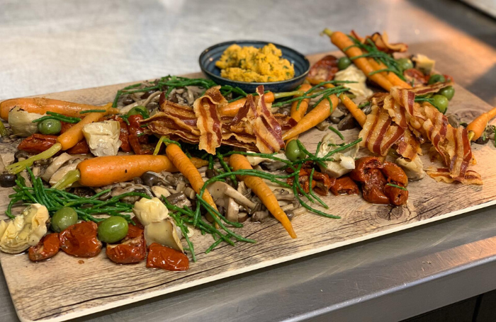 Christmas party platter with carrots and bacon catered by CH&Co at 66 Portland Place