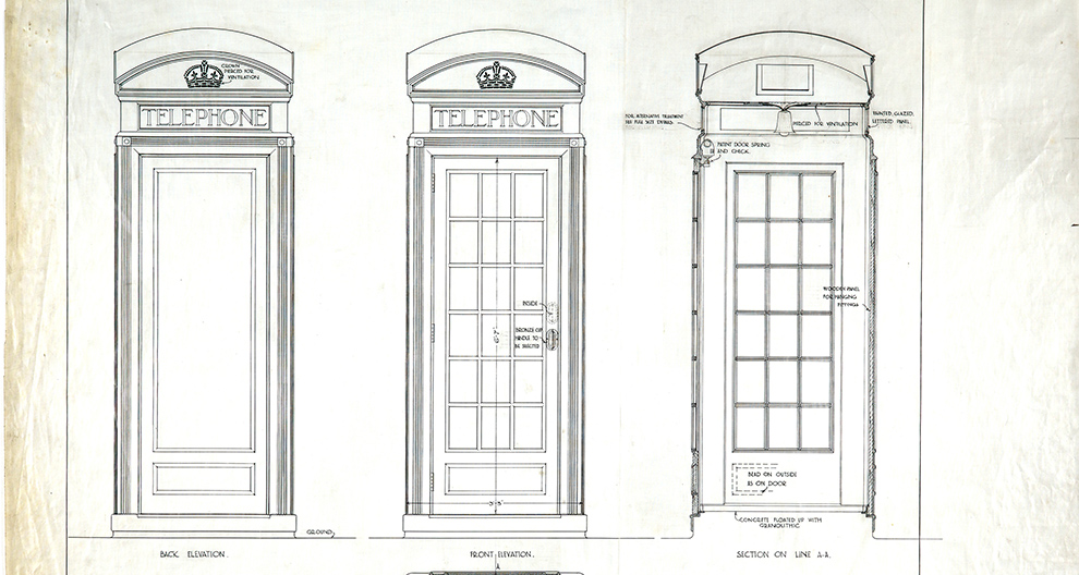 Design for GPO telephone kiosk number 2: plan, elevations and section